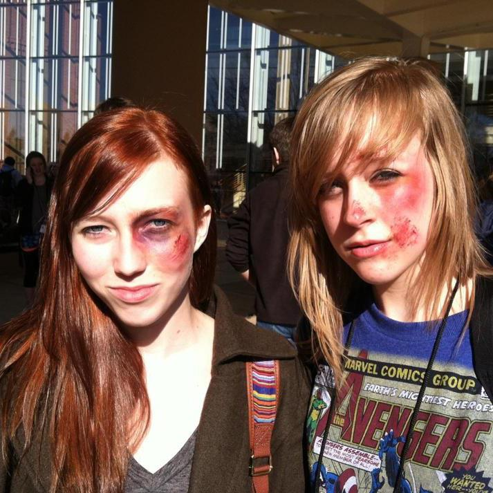 Caroline Oelkers and Sarah Locke show off their stage makeup after a workshop.