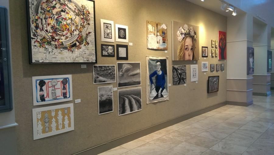 Alumni+showcase+artwork+in+Broyles