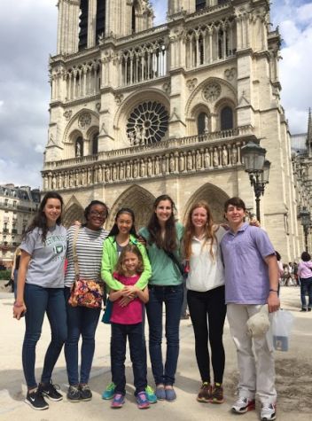 Students in front of the Notre-Dame Cathedral in Paris