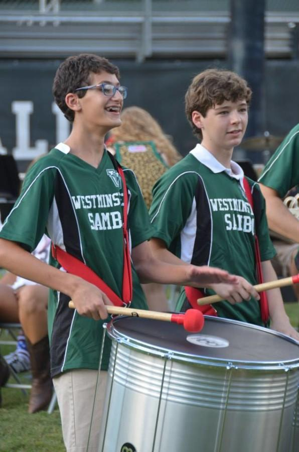 Members of the Westminster Samba perform at Pigskin Picnic