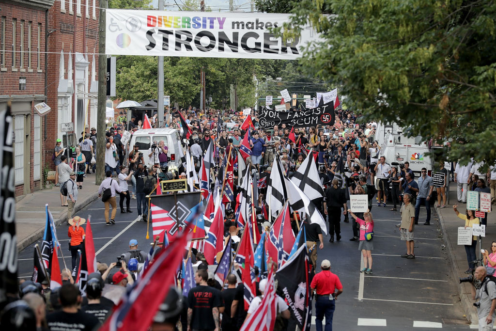 CHARLOTTESVILLE, VA - AUGUST 12:  Hundreds of white nationalists, neo-Nazis and members of the