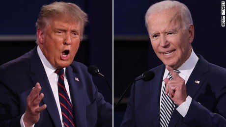 President Trump and President-elect Biden engage in the debate.
