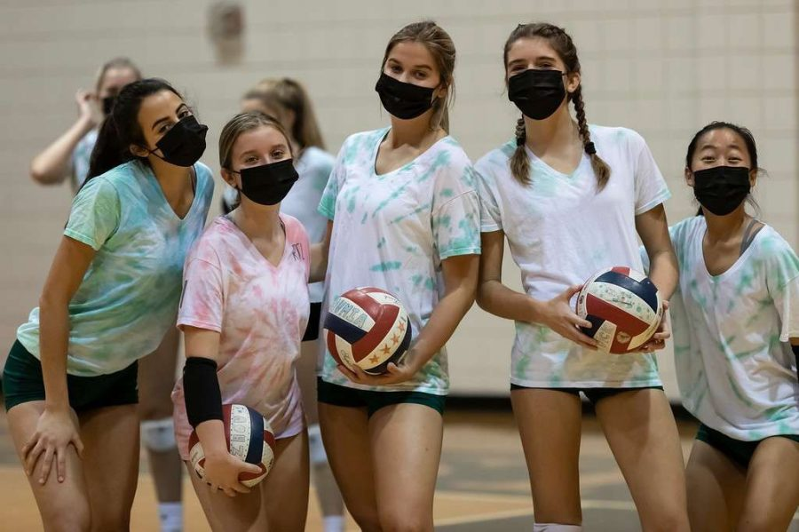 Westminster varsity volleyball players pose for a photo. Left to Right: Elena Karas '21, Caroline Dickey '22, Mary Emily Morgan '21, Ruthie Hay '22, and Anna Chen '22.
