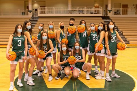 The girls basketball team looks fierce under their masks as they pose for a team shot.  Credit Randy Schiff