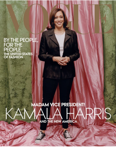 Vice President Kamala Harris poses in her official vogue photoshoot. Credit to Vogue.