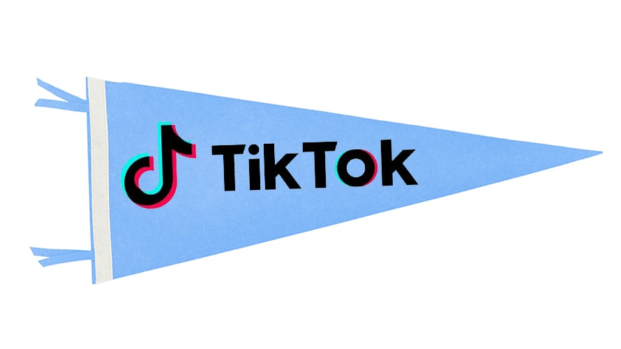 Each recruited TikToker receives a pennant in the mail after committing to a university.